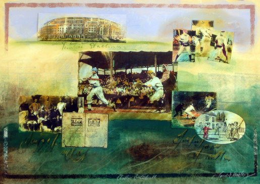605: Watercolor & Collage of Baseball (Yankee Stadium)