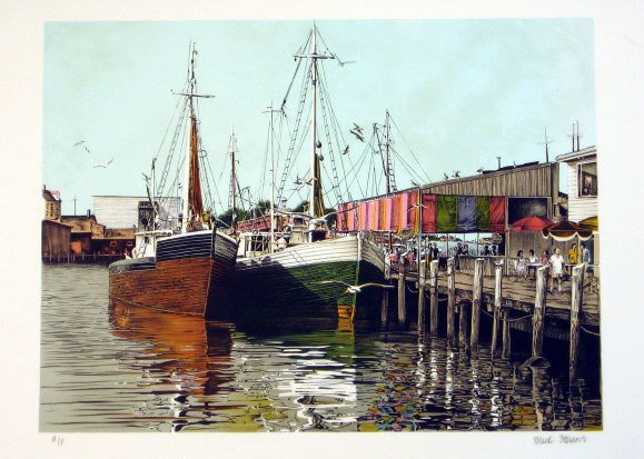 609: Mark Stevens Boats Pencil Signed & Numbered