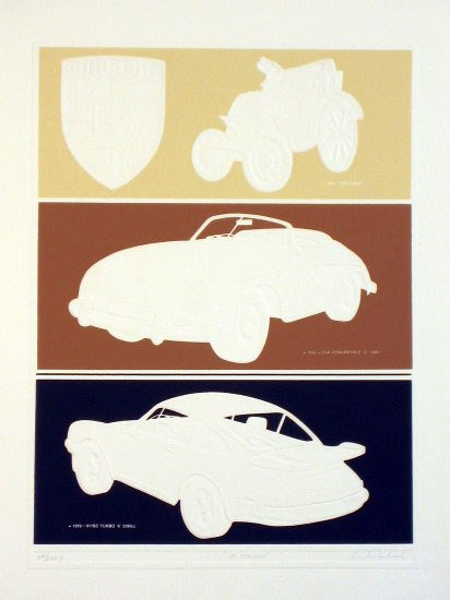 612: Porsche Embossed Lithograph Signed & Numbered
