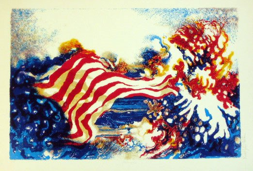615: Ronald Christensen American Flag Signed & Numbered