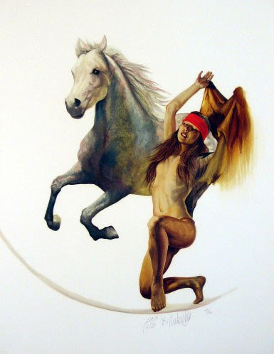 617: Native American Indian w/ Horse Pencil Signed & Nu