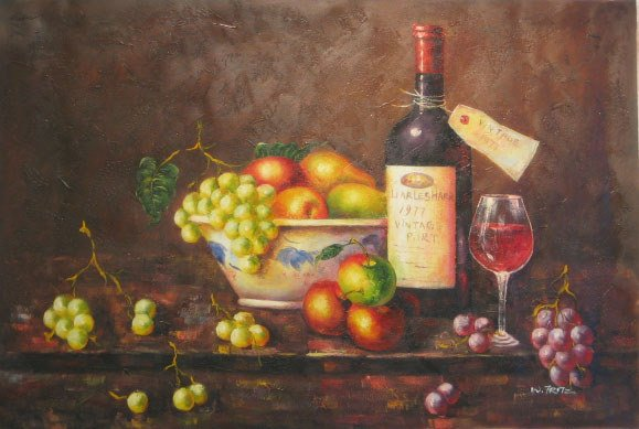 624: Wine Art Oil on Canvas Oringinal Large Painting