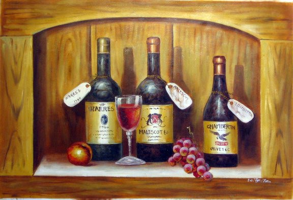625: Wine Art Oil on Canvas Oringinal Large Painting
