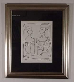 Cundo Bermundez: (Cuban 1914 -) Ink Drawin