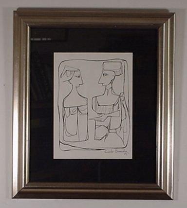 2: Cundo Bermundez: (Cuban 1914 -) Ink Drawin