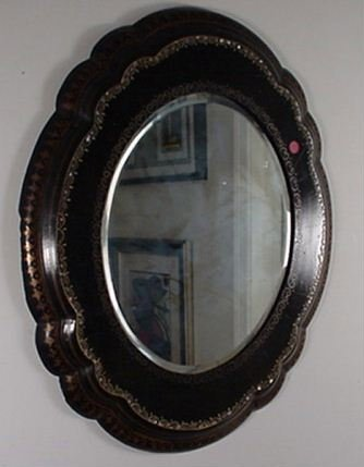 1015: 1930's Beveled Mirror W/hand painted Fr