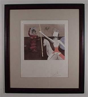 Dali Etching Don Quixote Off to Battle Sign & Num