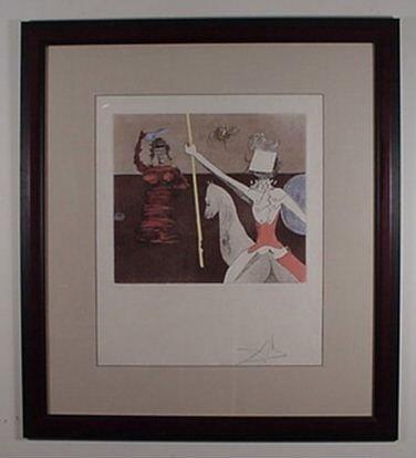 2209: Dali Etching Don Quixote Off to Battle Sign & Num