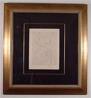 Dali Rare Engraving Woman w/ Crutch Signed & Numb