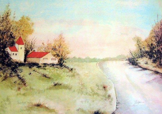 902: Fuja Barn Landscape Signed & Numbered Huge Piece
