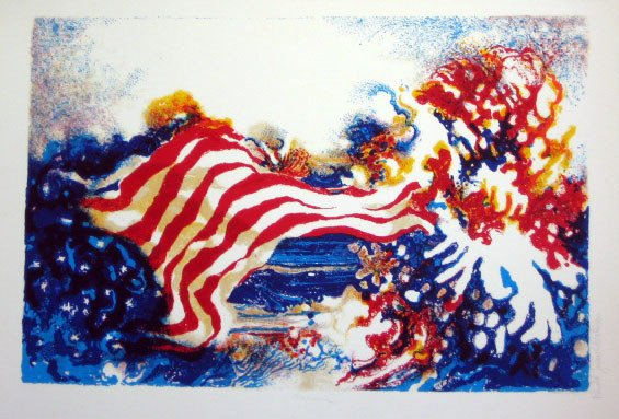 922: Ronald Christensen American Flag Signed & Numbered
