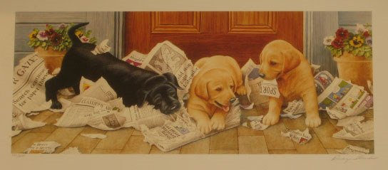 924: Reagan Ward Ladrador Puppies Signed & Numbered