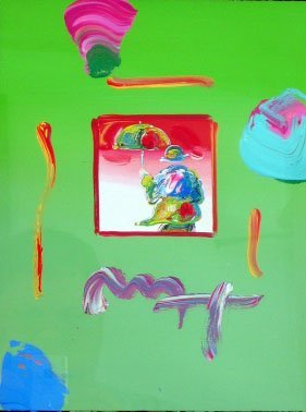 2083: Peter Max Original Acrylic and Collage Painting