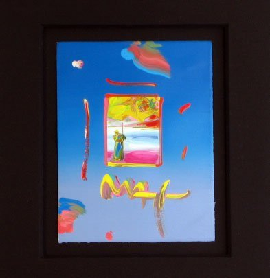 2084: Peter Max Original Acrylic and Collage Painting