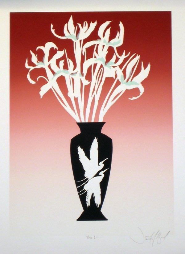 3503: Unknown Artist Flowers in Vase Embossed Litho Sig