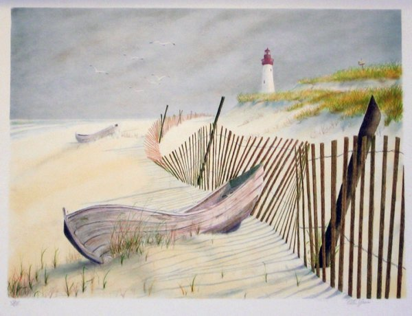 3504: Peter Yesis Lighthouse & Boat Signed & Numbered