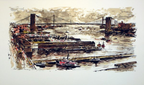 3513: New York East River Lithograph