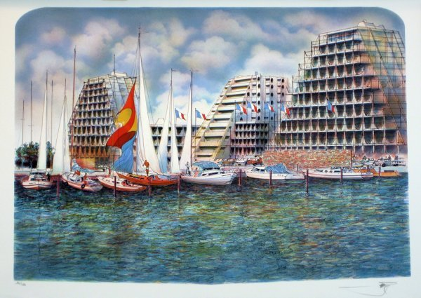 3516: Unknown Artist Sailboats Pencil Signed & Numbered