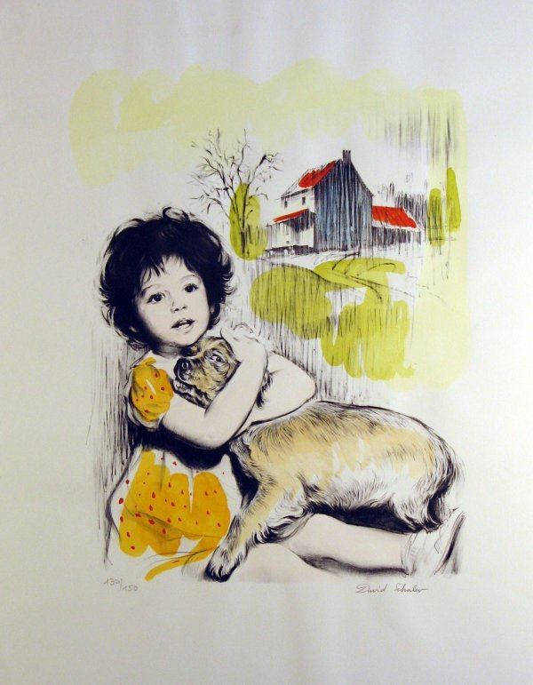 4218: David Schalev Girl with Dog Pencil Signed & Numbe