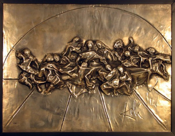 4349: Salvador Dali Last Supper Bas Relief Wall Sculptu