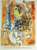 Marc Chagall Mourlet Exhibition Poster Pencil Sig