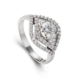 14K White Gold Moissanites Ring
