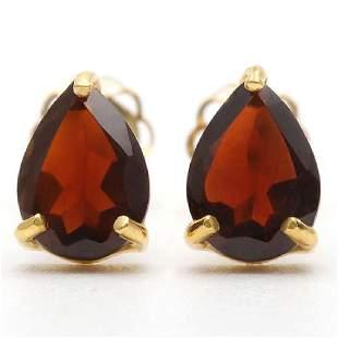 14K Yellow Gold Garnet Stud Earrings