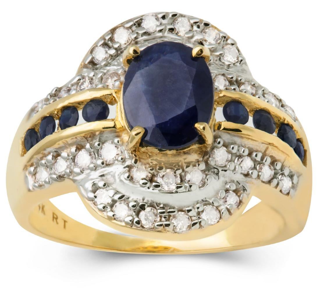 14K Yellow Gold Sapphire Ring with Diamonds