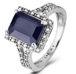 14K WHITE GOLD SAPPHIRE 376CT RING WITH DIAMONDS
