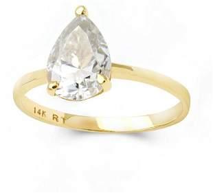 14K YELLOW GOLD CREATED MOISSANITE 18CT RING