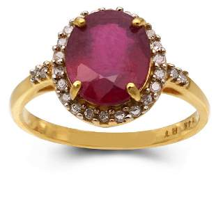14K YELLOW GOLD RUBY 30CT RING WITH DIAMONDS 26