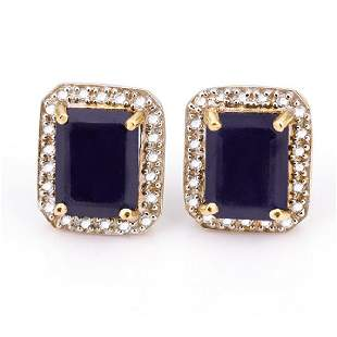 14K YELLOW GOLD SAPPHIRE 43CT STUD EARRING WITH