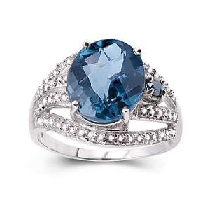 14K WHITE GOLD LONDON BLUE TOPAZ 58CT RING WITH