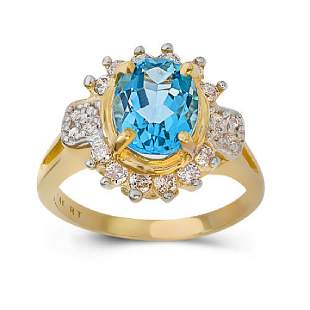 14K YELLOW GOLD LONDON BLUE TOPAZ 29CT RING WITH