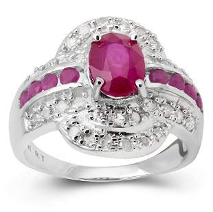 14K WHITE GOLD RUBY 248CT RING WITH DIAMONDS34PCS