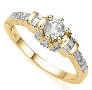 14K YELLOW GOLD CREATED MOISSANITE 076CT 27PCS RING
