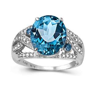 14K WHITE GOLD LONDON BLUE TOPAZ 596 CT RING WITH