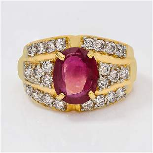 14K YELLOW GOLD RUBY 36CT RING WITH DIAMONDS 24