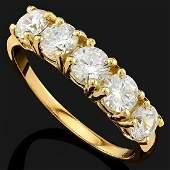 14K YELLOW GOLD CREATED  MOISSANITE 2.60CT (5PCS)RING