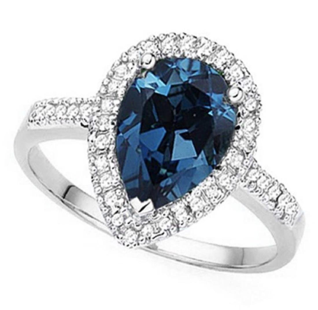 14K WHITE GOLD LONDON BLUE TOPAZ 2.4CT RING WITH