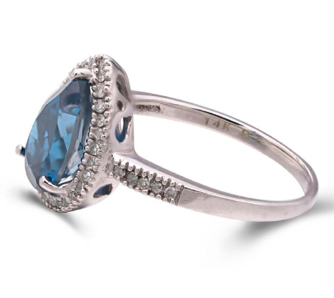 14K WHITE GOLD LONDON BLUE TOPAZ 2.4CT RING WITH - 2