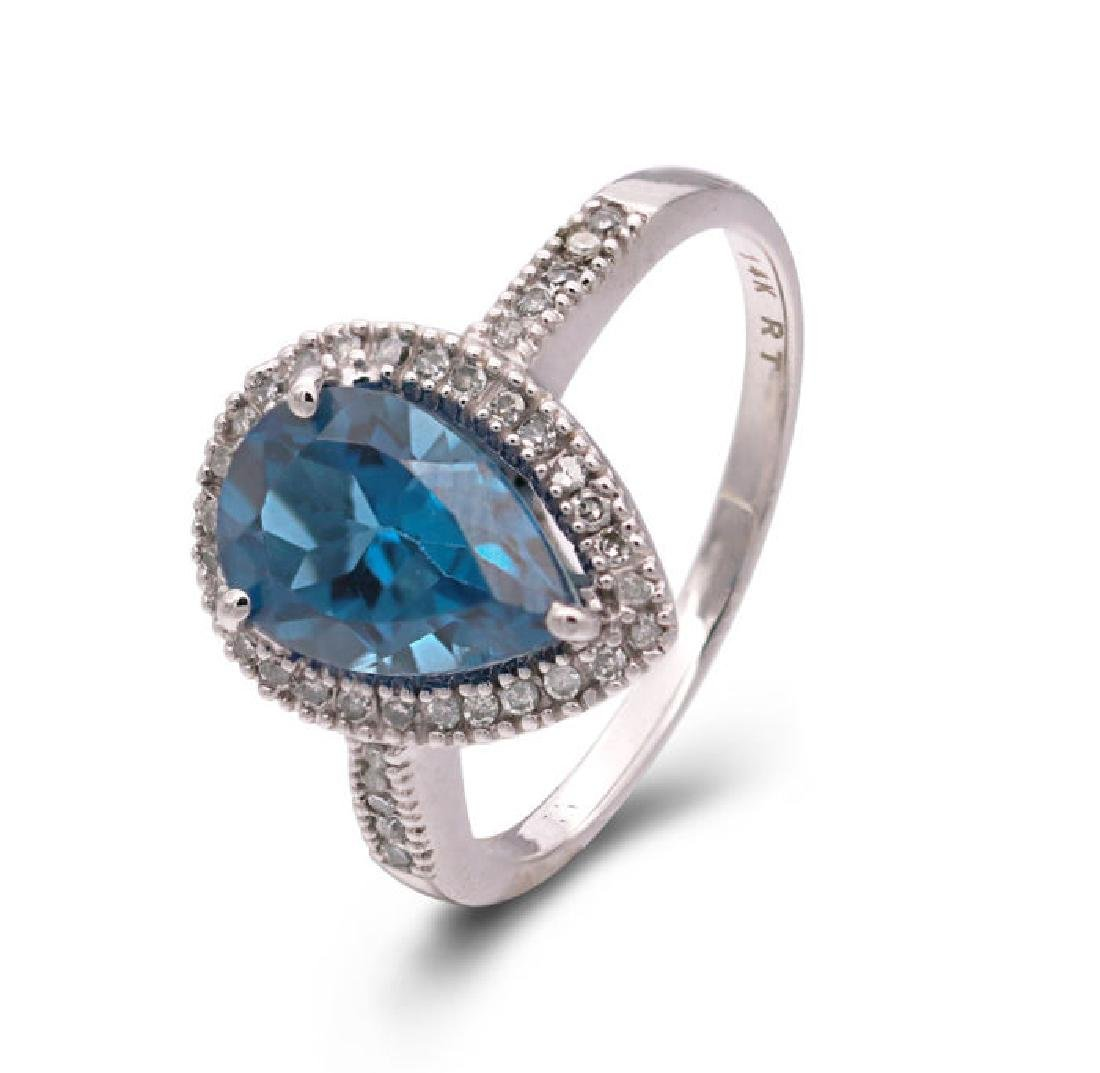 14K WHITE GOLD LONDON BLUE TOPAZ 2.4CT RING WITH - 3
