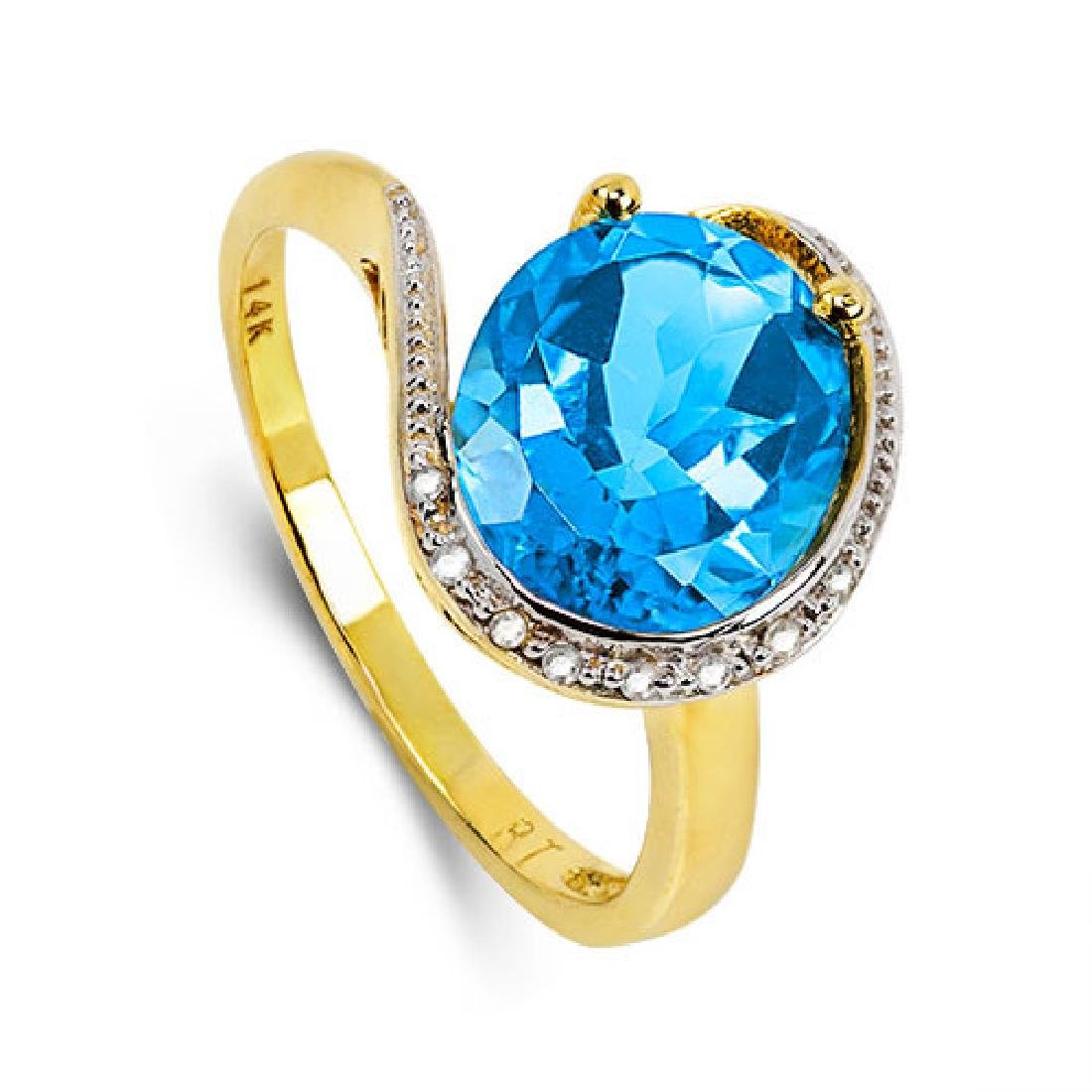 14K WHITE GOLD LONDON BLUE TOPAZ 4.4CT RING WITH