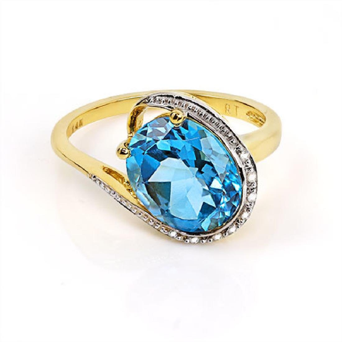 14K WHITE GOLD LONDON BLUE TOPAZ 4.4CT RING WITH - 2