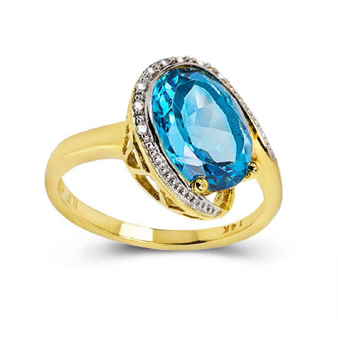 14K WHITE GOLD LONDON BLUE TOPAZ 4.4CT RING WITH - 3
