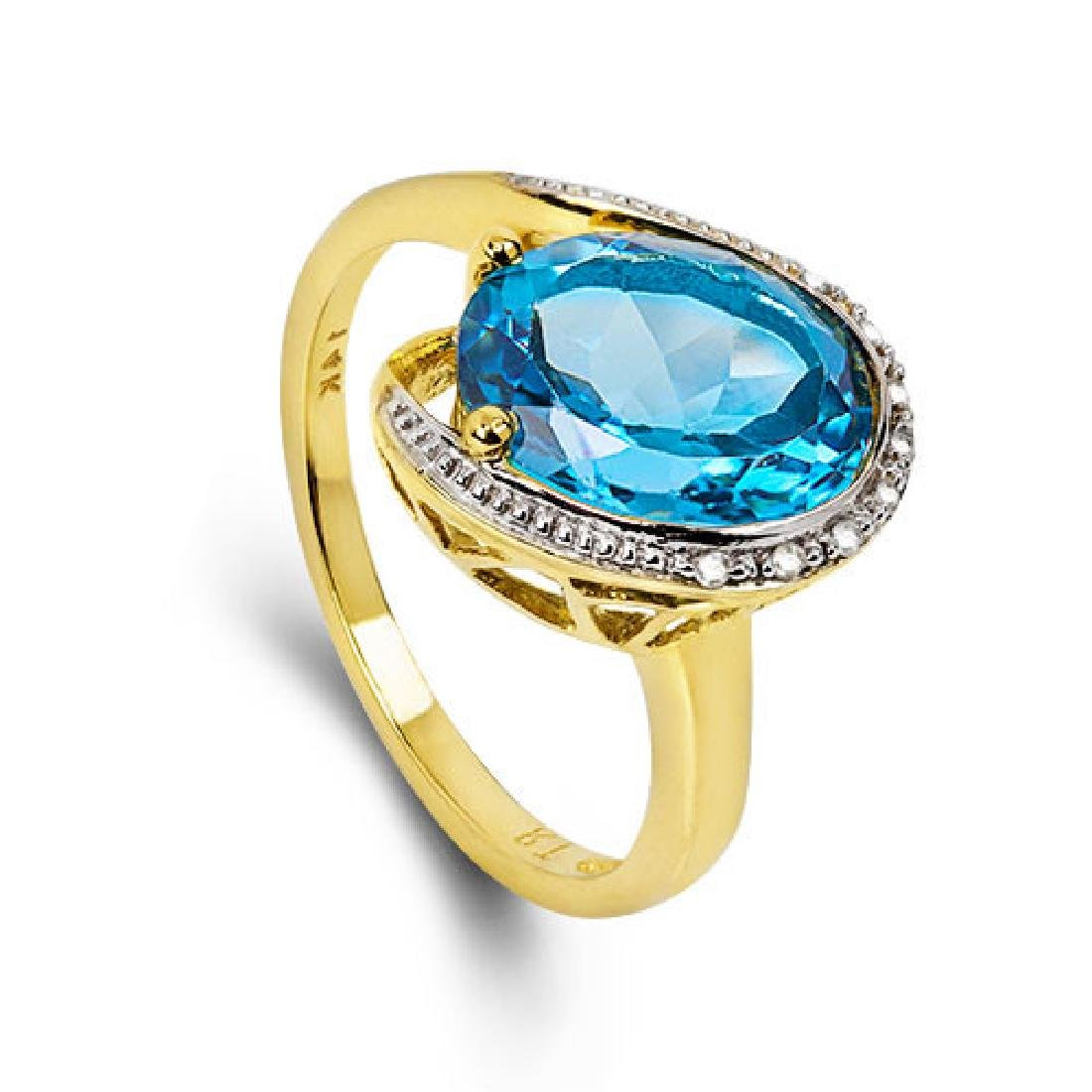 14K WHITE GOLD LONDON BLUE TOPAZ 4.4CT RING WITH - 4