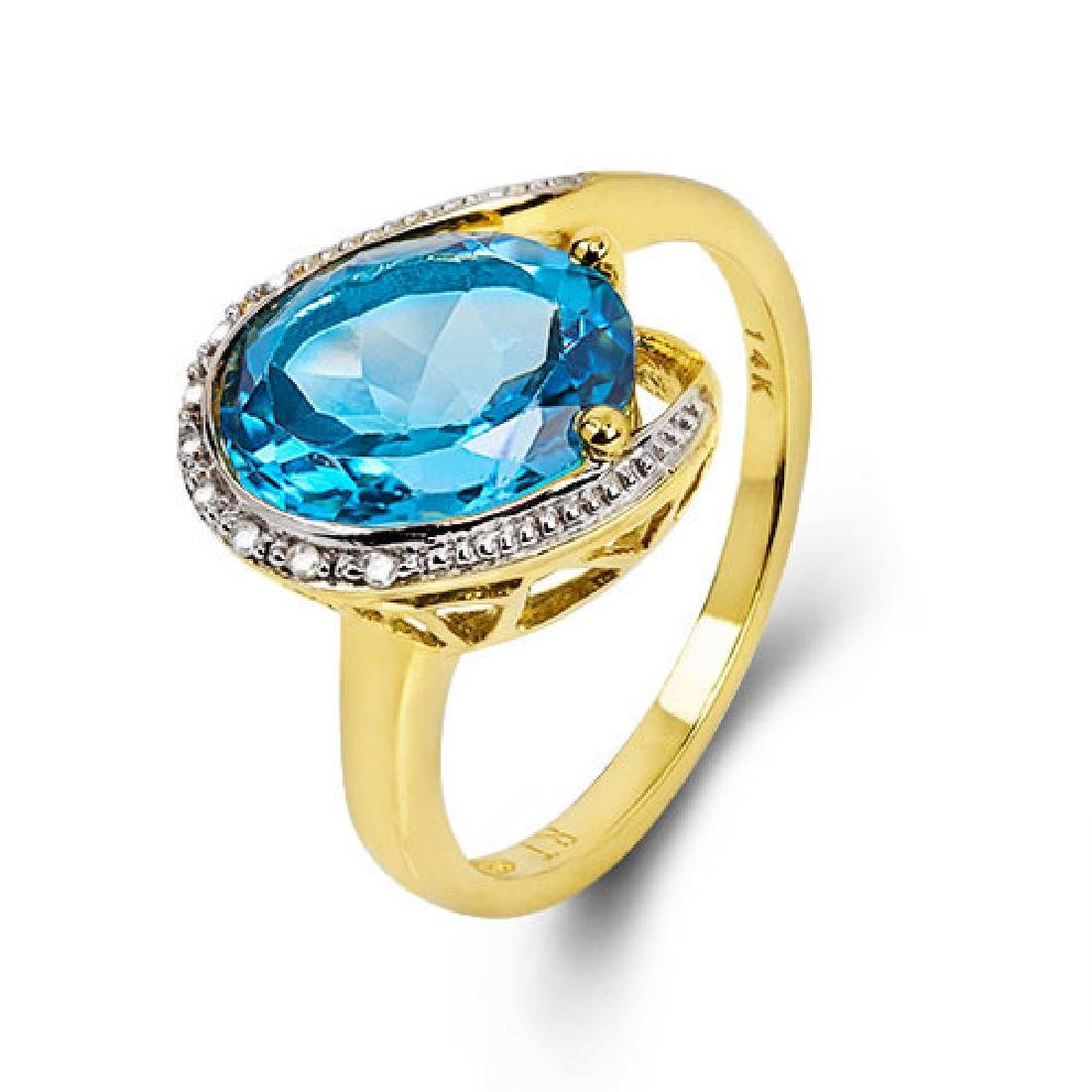 14K WHITE GOLD LONDON BLUE TOPAZ 4.4CT RING WITH - 5