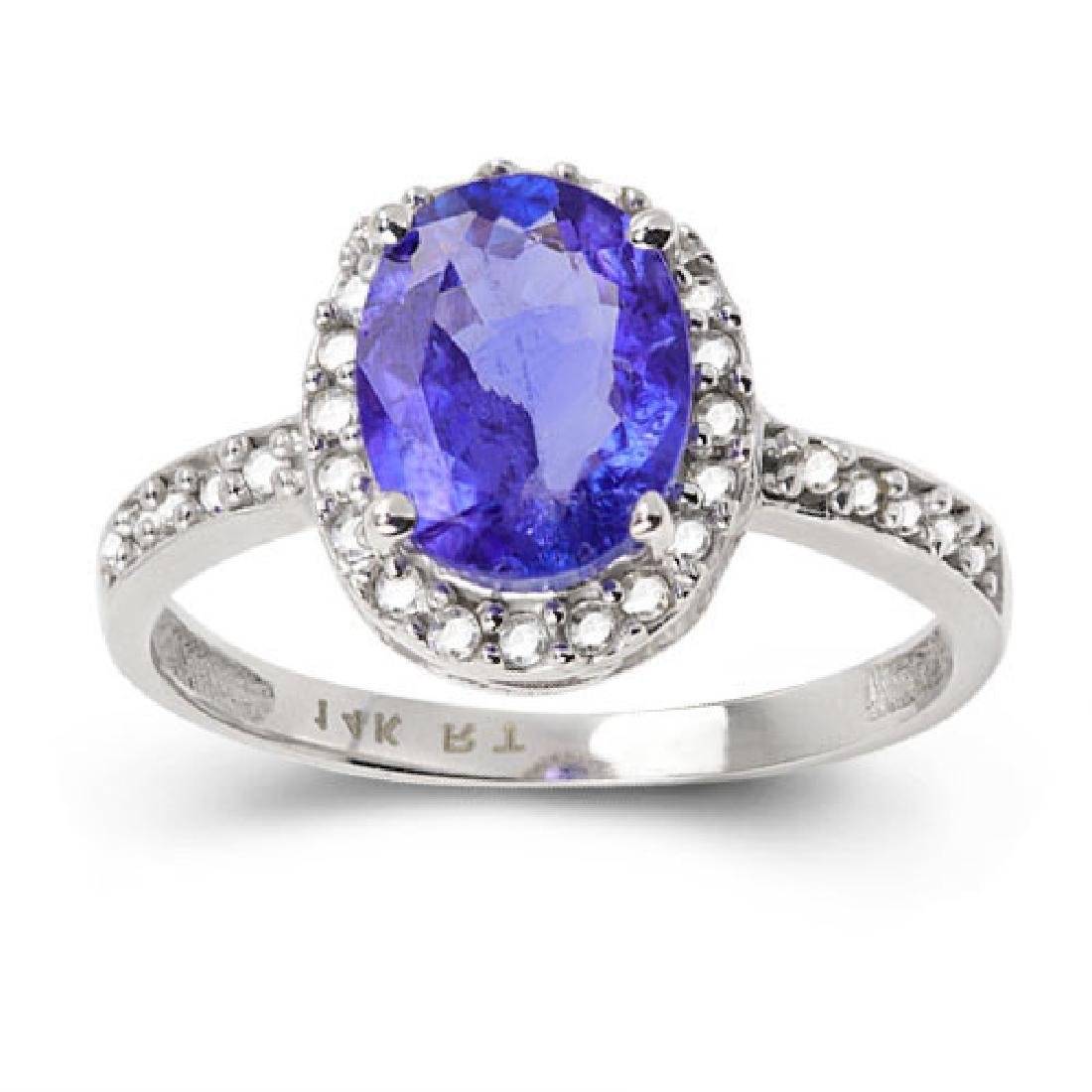 14K WHITE GOLD TANAZNITE 1.9 CT RING WITH