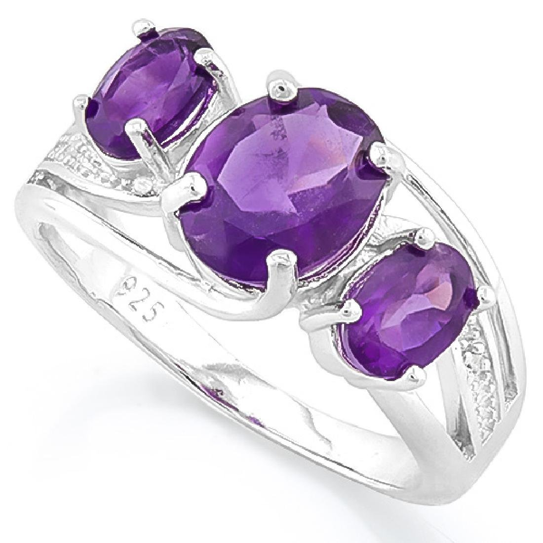 ELEGANT 925 STERLING SILVER RING WITH AMETHYST