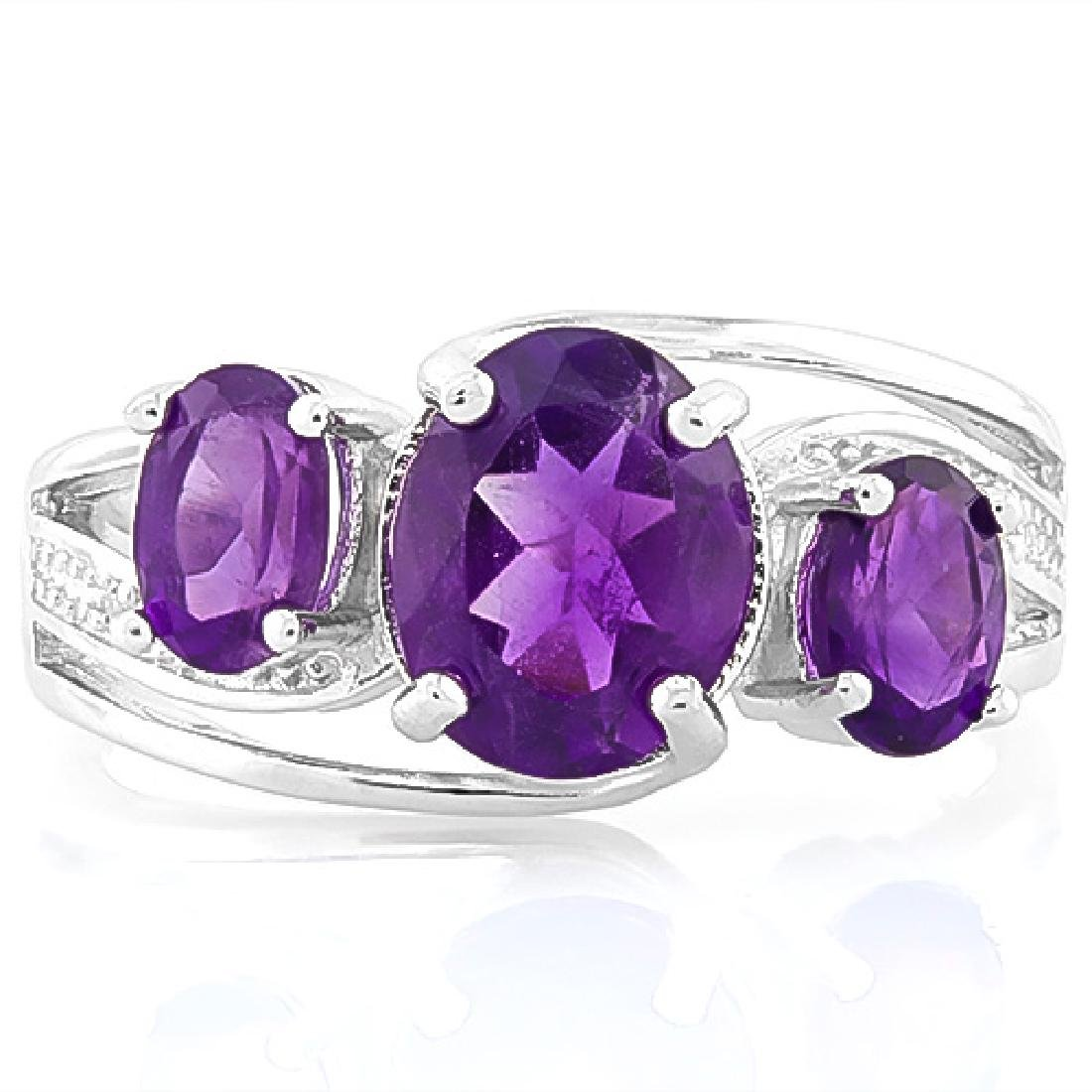 ELEGANT 925 STERLING SILVER RING WITH AMETHYST - 2